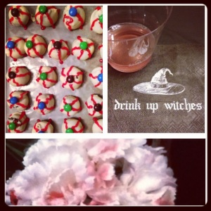 "Oreo ""eyeball"" truffles, witches brew, and bloddy flowers are all essential for a zombie-bride bachelorette party!"